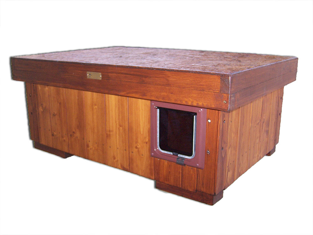 """bouda """"H"""", standartní velikost pro 1 kočku, výklopná vchodová dvířka, cena 2600,-Kč"""