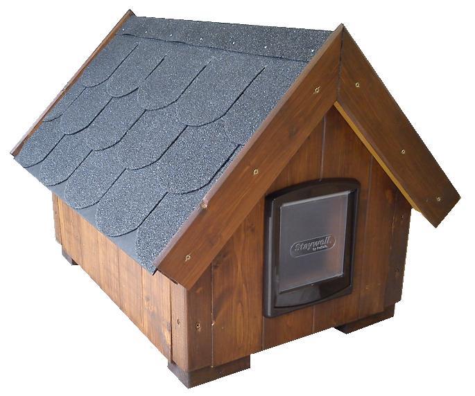 """bouda """"J"""", sedlová střecha s předsíňkou jako bouda """"B"""", pro 1 kočku, navíc výklopná dvířka u vchodu, cena 3400,-Kč"""