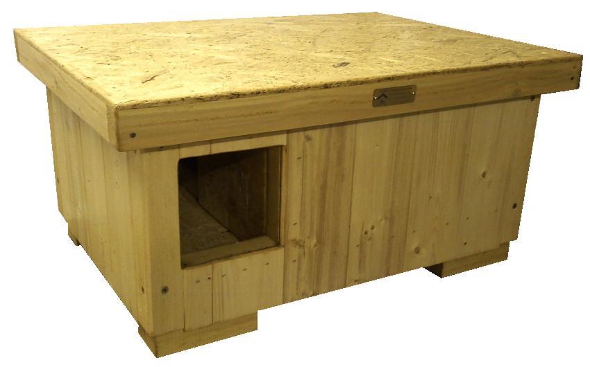 """bouda """"K"""", vel. pro jednu kočku s předsíňkou, rovná střecha, vchod hranatý, cena 2200,-Kč"""
