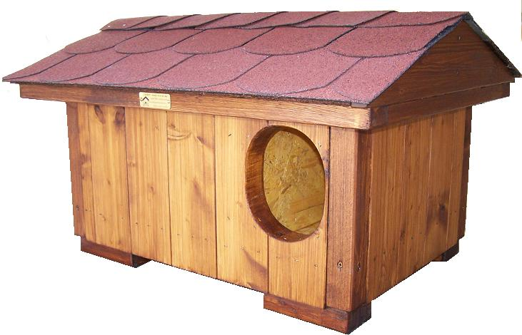 """bouda """"N"""", standartní bouda pro 1 kočku, sedlová střecha symetrická s vykrojovaným šindelem (bobrovkou) červené barvy, cena 2800,-Kč"""