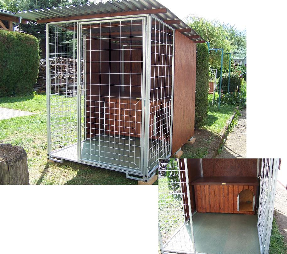 kotec 9 - velikost 1,6x2,5m (totéž jako např. 2x2m/4m2 - tento na obrázku je s boudou velikosti pro Zlatého retrievra, Německého ovčáka apod.), kotec pro příležitostné zavření psa (např. po dobu návštěvy na zahradě), je s podlahou, kovové části zinkované, dřevěné natřené, jako stěny použity OSB desky a na střechu vlnité desky z pozinkovaného plechu, cena 17.500,-Kč (bez boudy)