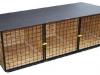 kotec 6 - odkládací trojkotec na cvičiště, vel. 2,5x1x0,8m, střecha spáditá vzad, pokryta obyčejným asf. lepenkovým pásem, dřevěné díly bez nátěru, kovové natřené, cena 7.000,-Kč