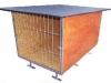 kotec 7-odkládací jednokotec na cvičiště, vel. 1,5x1x1m, střecha spáditá vzad, pokryta obyčejným asf. lepenkovým pásem, dřevěné díly natřené, kovové zinkované, cena 5.000,-Kč