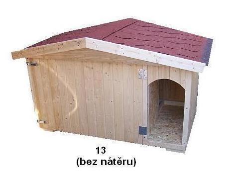 bouda 13 – příplatek: sedlová střecha se štítem vepředu, oblouk u vchodu nahoře, vykrojovaná šindelová krytina na střeše (bobrovka), sleva: bez nátěru