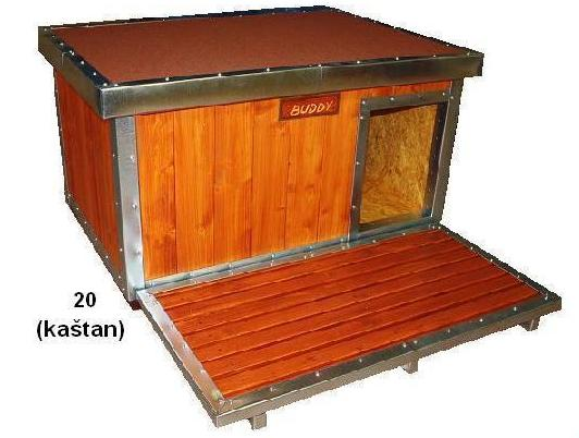 bouda 20 – příplatek: oplechování hran a vchodu, podlážka před boudu, jmenovka, pásová krytina Bituelast na střeše