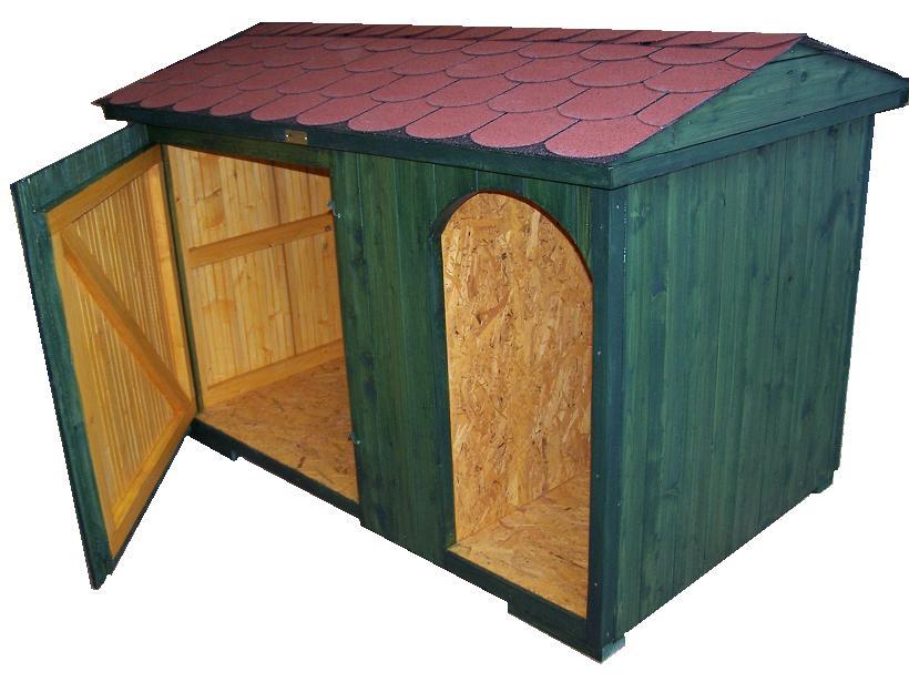 bouda 27-částečně zateplená bouda pro něm. dogu, zatepl. jen podlaha, přípl. vykrojovaný šindel (bobrovka) na střechu, cena v tomto případě byla 5100,-Kč