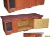 bouda 28-zateplená bouda pro dvě fenky-vel. zl. retriever,   bouda má zleva klasickou část s předsíňkou, kdy ložnice pak může být velká třeba až zcela vpravo, případně lze ložnici zmenšit posunovatelnou přepážkou a vpravo tím vytvořit druhou ložnici bez předsíňky, ale se samostaným vchodem,  bouda má prostě uvnitř dvě posunovatelné nebo vyjímatelné přepážky-z toho levá s průchozím otvorem a dále má otevírací střechu a přední stěnu,   vpravo vyjímatelná dvířka a vlevo magnetický flap (závěs) ve vchodě, na střeše vykrojovaný šindel-červená bobrovka, nátěr na boudě olejovo syntetický (cena tohoto provedení  9000,-Kč)